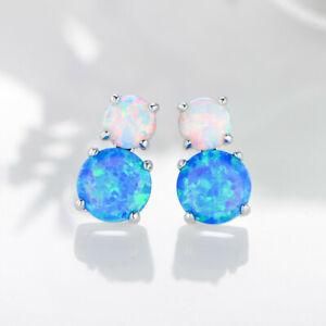 Special Round Shaped Blue White Fire Opal Gemstone Silver Stud Hook Earrings