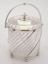 Lovely Spiral Cut Glass Biscuit Box circa 1905