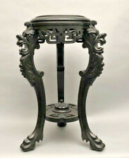 Antique Dragon wood carved black lacquered wood tripod Vase planter stand table