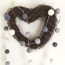 Grey Silver Pom Pom Garland / Felt Ball / Natural Christmas Decorations / Rustic