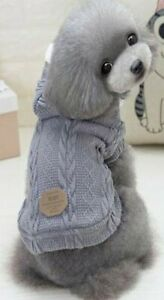 Dog Puppy Jacket Sweater with Hoodie for Small Breeds - Warm Fleece - Gray