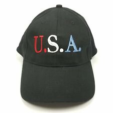 USA America Light Up Curved Baseball Cap Hat Black Red White Blue Lettering