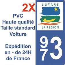 Sticker Autocollant immatriculation Département 973 Guyane Région Dom Tom X2
