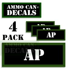 """AP Ammo Can Decals Ammunition Ammo Can Labels 3""""x1.15"""" Vinyl 4-pack"""