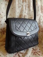 Authentic Chanel Medium Diamond Stitch Caviar 2.55 Flap Shoulder Bag Purse T170