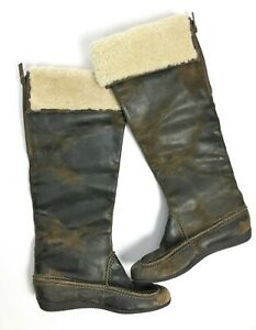 KORS Michael Kors 'Paley' Dark Brown Genuine Shearling Cuff Waxed Suede Boots