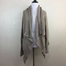 QED LONDON CABLE KNIT OPEN CARDIGAN SWEATER ACRYLIC SIZE LARGE L POCKETS BK32