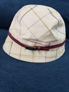 Rare Coach Classic White Tattersall Bucket Hat SZ P/S