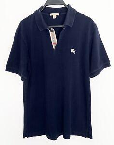 BURBERRY Brit Mens Polo Shirt Golf Short Sleeve NOVA CHECK Trim Knight Logo M