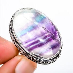 Fluorite - Brazil 925 Sterling Silver Fine Art Ring s.8 T2721