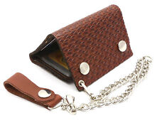 Trifold USA Made Reddish Brown Leather Biker Wallet Scale Braid Design w/ Chain