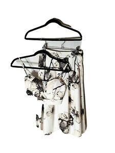 SHOWPO Size 8 Monochrome Watercolour Floral Two-Piece Pleated Dress Cropped