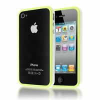 BUMPER FRAME W/ METAL BUTTONS SILICONE PLASTIC CASE COVER FOR IPHONE 4S 4