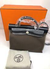 Hermes Kelly  Fabric Hunter Cowhide HerBag  Zip 31 Bag BJ Etoupe Noir