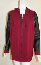 Linea Leisure Sz 2X Berry Hooded Zip-up Faux Leather Sleeve Lightweight Jacket
