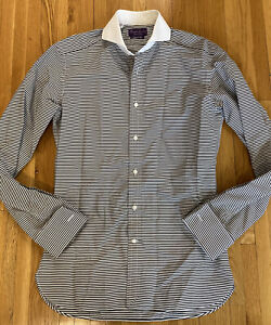 Ralph Lauren Purple Label Tailored Fit Zebra Stripe French Cuff Dress Shirt