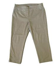 M&S Capri Trousers UK 16 Cotton Mix Stretch Crop Leg Pants Bottoms Stone Beige