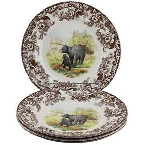 Spode Woodland Black Bear Dinner Plates Set of 4
