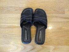 Montego Bay Womens Slides Sandals Peeptoe Black Size 7.5 Leather Upper Slip On