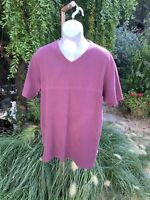 ALFANI Men's Cotton Blend Dark Pink  V-Neck Shirt Top Sz Lg