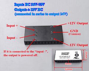 DC-DC 36V~75V 48V 60V to ±12V 24V Buck Converter Step Down Power Supply Module