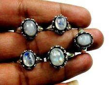 Natural Rainbow Blue Fire Moonstone 925 Silver Plated 5 Pcs Girl & Woman Ring