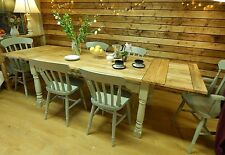 Large Rustic Oak Finish Extending 8.5 ft Painted Dining Set Table & Chairs