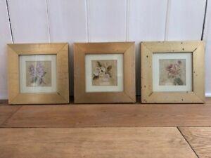 Set of 3 Vintage Distressed Floral Botanical Prints Framed & Glazed Shabby Chic