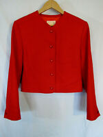Pendleton Women's Cropped lined Wool Jacket Size 14 Red Made in USA blazer mint!