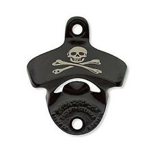 STARR X Wall Mount SKULL & CROSSBONES BLACK BOTTLE OPENER Bar Popper Beer Soda