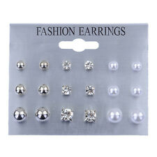 9 Pairs Women's Rhinestone Crystal Earring Chain Ear Stud Earrings Jewelry