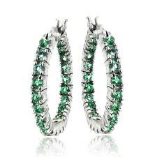 Created Emerald Hoop Earrings in Brass
