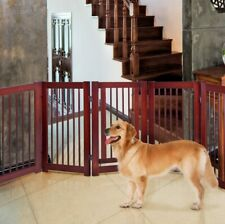 """30""""H Wood Dog Gate Pet Safety Fence Playpen Panel Folding With Gate Indoor"""