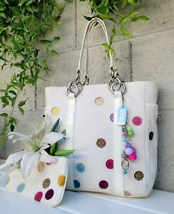 COACH 2pc VINTAGE POLKA DOT leather gallery lunch TOTE BAG9763 purse shoulder