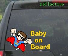 """FOR car / Baby Superman """"BABY ON BOARD"""" Vinyl  Decal Sticker window / reflective"""