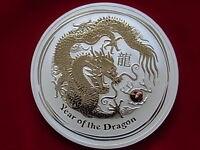 Australia. 2012 10oz - Silver,  Lunar Series - Year of Dragon.  BU/Specimen