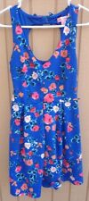 CANDIES FLORAL DRESS SIZE SMALL JUNIORS BLUE OPEN BACK