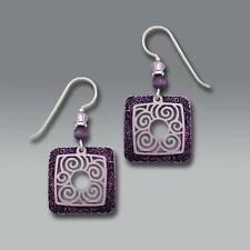 Adajio Earrings Etched Amethyst Frame with Pale Lavender Filigree Overlay 7281