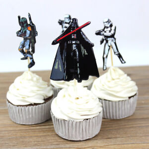 24 Pcs Star Wars CUPCAKE CAKE TOPPERS Party Supplies Lolly Loot Bags Decoration