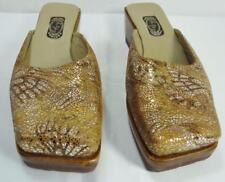 SALPY handmade metallic gold & silver crackle slip on slides mules wedge heels 6