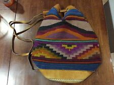Mexican woven wool/leather trimmed BACKPACK / Tote Saltillo