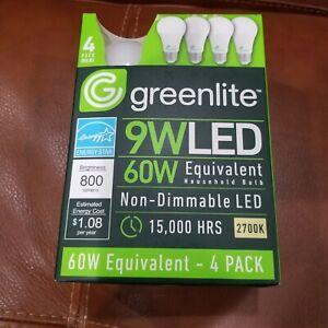 1 Case 96 Bulbs Greenlite 9WLED 60W Watt Equivalent Light Bulb Non Dimmable