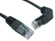 Cat5e RJ45 Network Cable Straight to right angle down, black ethernet lead 0.5 M