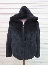 Piel de visón real de Lujo con cremallera Bolsillo Informal Mujeres Abrigo Sombrero Negro