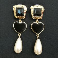 Pendientes Oro Mujer Bisutería Colgante Piedra Negro Perla Moda Veque