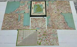 VINTAGE PERRIER MOTOR MAP OF ENGLAND & WALES.13 SHEETS & CASE.H.M.KING GEORGE V.