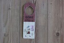 "HANGING SIGN , DOORKNOB/ WALL  PRETTY PICTURE AND WORDS ""GONE SHOPPING"""