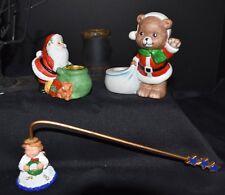 Vintage Jsny Porcelain Santa & Bear Candle Holders Ceramic Angel Stars Snuffer