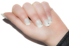 TIPS UNGHIE FINTE DECORATE FRENCH TIP 12 PZ BIANCO STRASS BRILLANTONO FRENCH