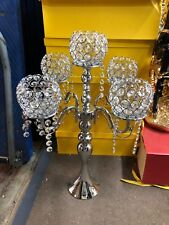 Silver Crystal Candelabra Candle Holder Centerpiece Candlestick Romany
